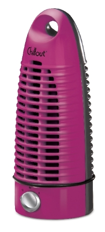 Chillout is a space-saving personal fan. Now available as a mini tower, it comes in several vibrant colors, including fuchsia.