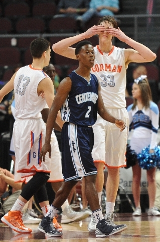 Bishop Gorman's Stephen Zimmerman (33) gestures towards the Gorman bench during the NIAA Division 1 State Boys Basketball Championship game at Orleans Arena in Las Vegas in February.