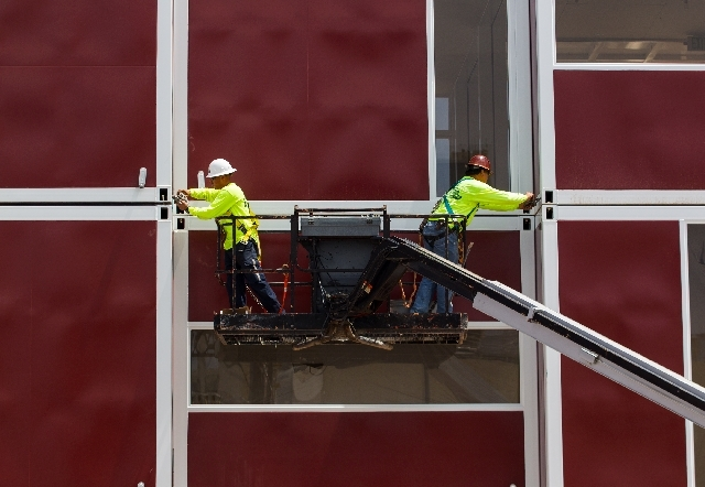 Construction workers make progress at the Container Park off of Seventh Street near the El Cortez in downtown Las Vegas on Tuesday.