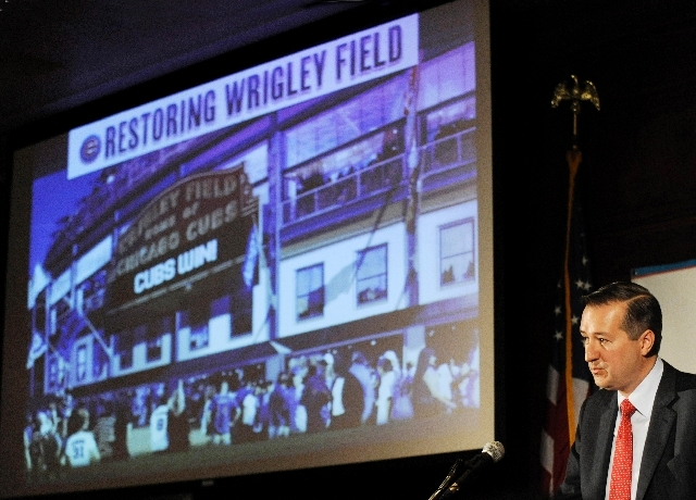 Chicago Cubs Chairman Tom Ricketts speaks in Chicago about proposed renovations at Wrigley Field.