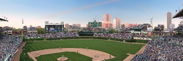 This file photo shows an artist rendering provided May 1, 2013 by the Chicago Cubs showing planned renovations at Wrigley Field.