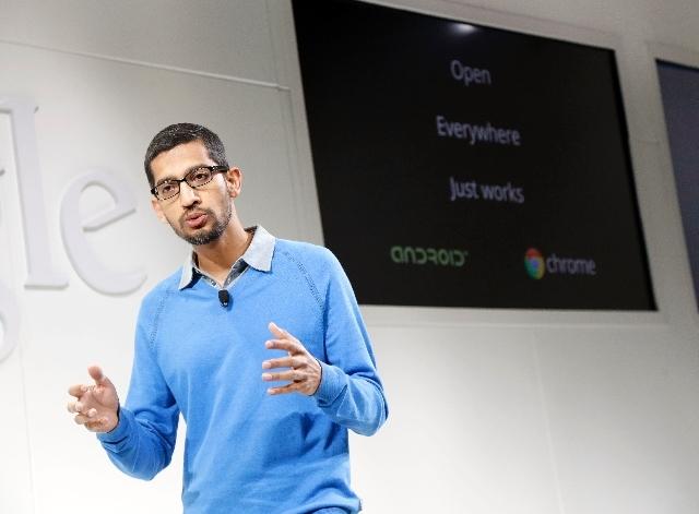 Sundar Pichai, senior vice president Chrome and apps for Google, speaks on Wednesday in San Francisco.
