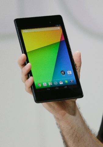 Hugo Barra, vice president Android product management at Google, displays the new Nexus 7 tablet on Wednesday in San Francisco.