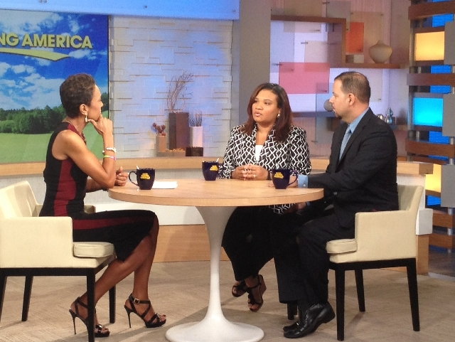 """This image released by ABC shows host Robin Roberts, left, with Juror B29 from the George Zimmerman trial, center, and attorney David Chico on """"Good Morning America,"""" in New York on July 25."""