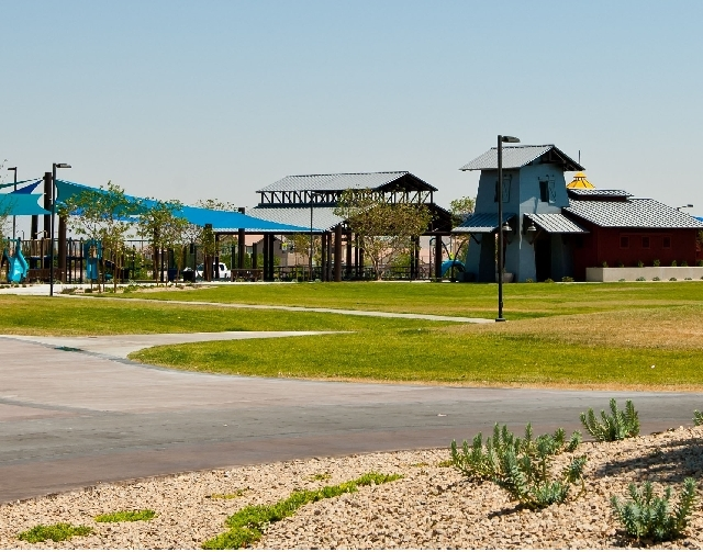 Community Park in Summerlin is adjacent Wet 'n' Wild water park. It is open to the public, and features a large play structure along with picnic ramadas designed to replicate mining camps in the a ...