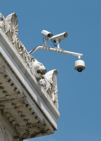 An array of security cameras is seen at the corner of the top of the Lincoln Memorial in Washington, Friday.