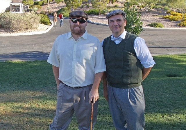 Eric Senko, left, and Chris Humes enjoy The Heritage Classic at Eagle Crest Golf Club, June 22. The classic tournament allowed players to try out hickory stick clubs and 1920s-replica Victor golf  ...