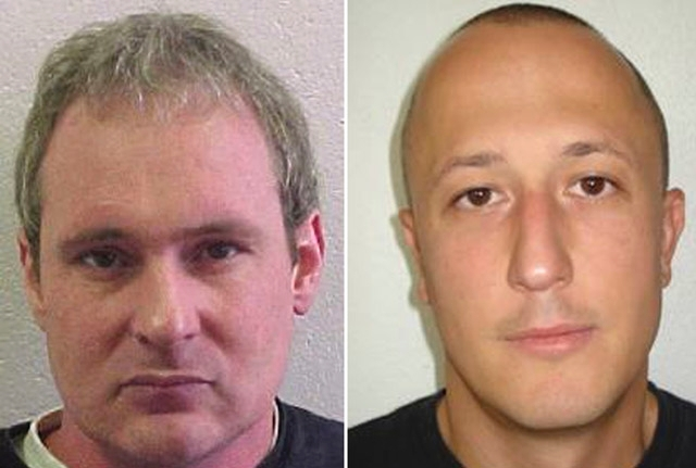 The combo of undated wanted photos issued by the police in Vaud, western Switzerland, shows fugitives Adrian Albrecht, left, and Milan Poparovic who escaped from a Swiss prison on Thursday. Popari ...
