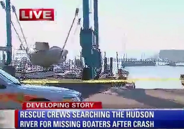 This still frame made from WABC-TV video on Saturday shows a boat recovered from the Hudson River following a boating accident near Piermont, N.Y.