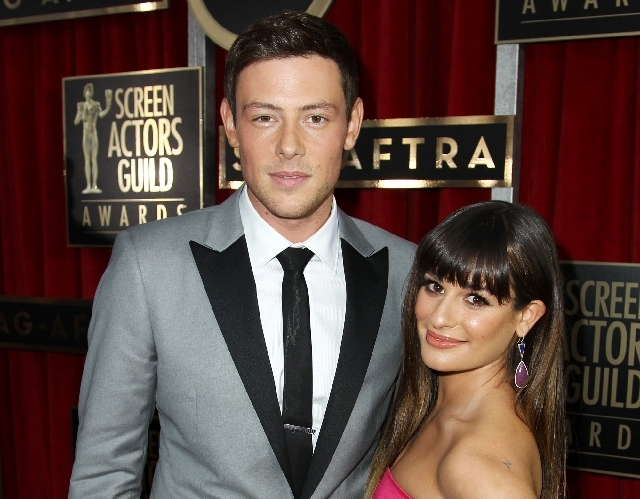 In this Jan. 27 file photo, Cory Monteith, left, and Lea Michele arrive at the 19th Annual Screen Actors Guild Awards at the Shrine Auditorium in Los Angeles. Lea Michele is breaking her silence o ...