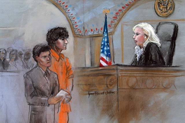Accused Boston Marathon Bomber pleads not guilty in court.