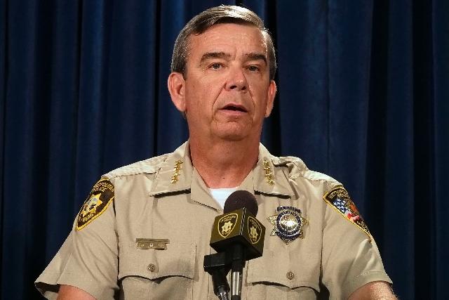 Las Vegas Metropolitan Police Sheriff Doug Gillespie announces the suspension of Metro officer Jacquar Roston at a news conference at Metro headquarters in Las Vegas on July 22.