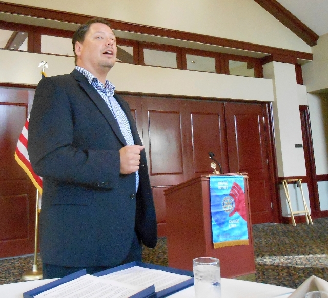 Pat Skorkowsky, new Clark County School District superintendent, lays out his approach for dealing with issues the district faces before the Rotary Club of Las Vegas Summerlin on July 23.