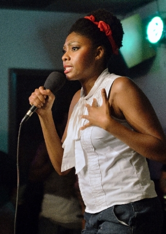 "Comedian Jessica ""It's All Good"" Williams performs during the Vegas On The Mic."