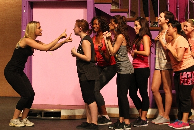 """Alison Thompson as Elle Woods, left, rehearses for """"Legally Blonde"""" at Spring Mountain Ranch State Park."""