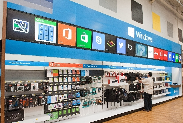 A Windows Store is shown at Best Buy . Microsoft announced it is bringing a pared-down version of its Office software to Android phones, but it won't work on Android tablets just as it doesn't on  ...