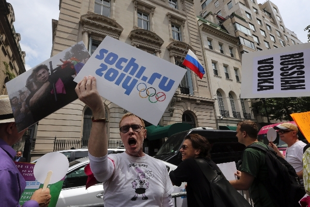 Gay rights activist Ken Kidd, of Manhattan, chants slogans during a demonstration in front of the Russian consulate in New York on July 31. Russia will enforce a new law cracking down on gay right ...