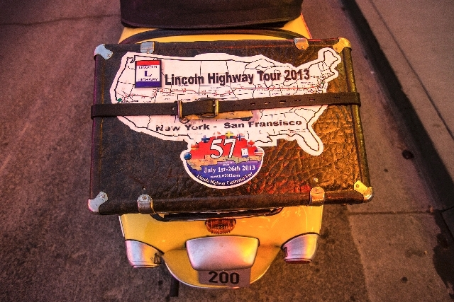 A piece of luggage is strapped onto a 1959 Messerschmitt KR200 driven by Erik Gjermundsen from Norway on the Lincoln Highway centennial tour.