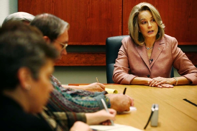 U.S. Senate candidate hopeful Sue Lowden, who has announced her interest in running for lieutenant governor, speaks during a Las Vegas Review-Journal Editorial Board meeting at the newspaper in 2009.