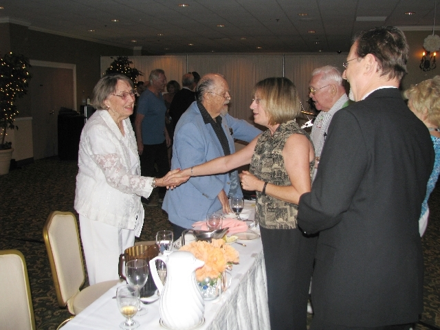 Gloria Hoffmann thanks Linda and Nathan Tannenbaum for attending her husband John Henry Hoffmann's 90th birthday party July 28 at Arizona Charlie's Decatur. The Hoffmanns are longtime Sunrise Mano ...