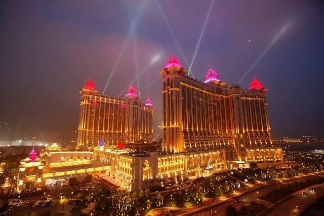 The complex of Galaxy Macau is illuminated in Macau.