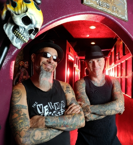 "Tattoo artists Rob Ruckus, left and Dirk Vermin, two longtime buddies, co-star in A&E's new reality show ""Bad Ink,"" premiering Sunday."