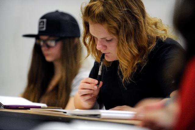 Student Darbie O'Donnell attends Claire Vaye Watkins' creative writing class Thursday in Pahrump.
