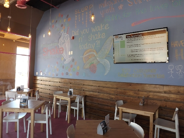 A wall at For Goodness Shake is covered in chalk art.