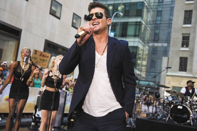 """Robin Thicke performs on NBC's """"Today"""" show on Tuesday in New York."""