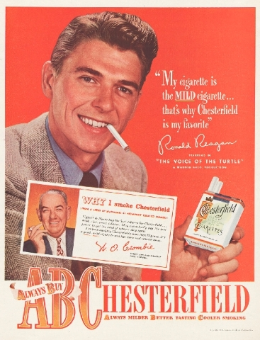 This image provided by the Stanford Research into the Impact of Tobacco Advertising shows a 1948 Chesterfield cigarette advertisement featuring future President Ronald Reagan.