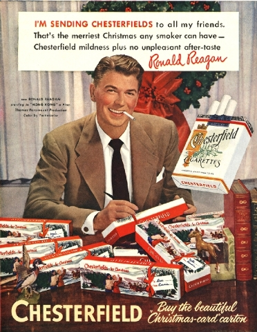 This image provided by the Stanford Research into the Impact of Tobacco Advertising shows a 1949 Chesterfield cigarette advertisement featuring future President Ronald Reagan.
