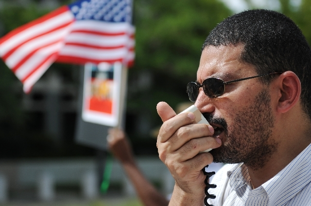 Ahmad Fayed yells a chant during a rally in support of Egypt's deposed president, Mohammed Morsi, outside the Lloyd D. George Federal Courthouse on Aug. 3.