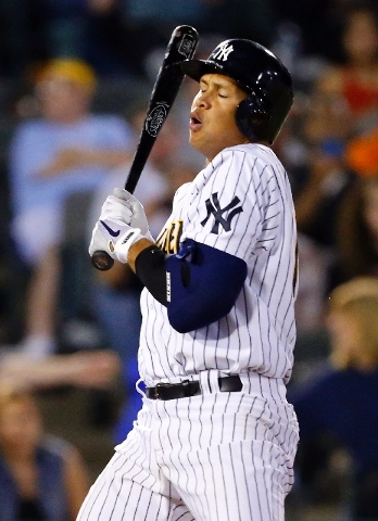 New York Yankees' Alex Rodriguez (13) backs off an inside pitch during the seventh inning of a minor league baseball rehab start with the Trenton Thunder in a game against the Reading Fightin Phils.