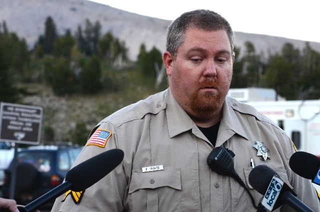 Pete Hughes, public information officer with the Hood River County Sheriff's Office speaks to the media on Saturday.