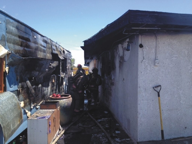 A photo of the damage sustained by a mobile home on Sunday