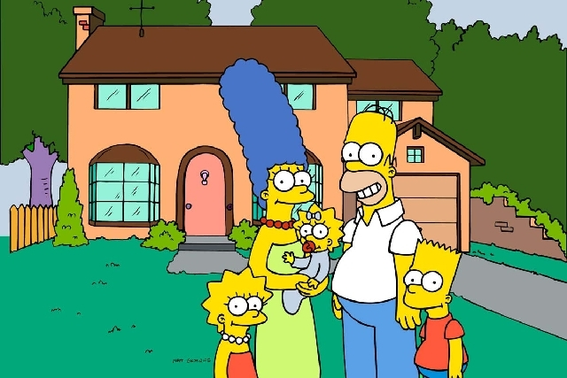 "This undated frame from the Fox series ""The Simpsons,"" shows the popular cartoon family posing in front of their home, from left, Lisa , Marge , Maggie, Homer and Bart Simpson. Danish toy company  ..."