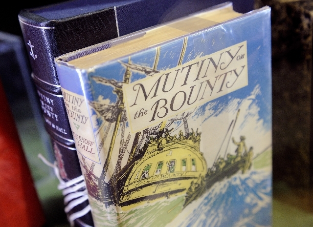 "A first edition of ""Mutiny on the Bounty"" is among a collection of first-edition books that were made into movies on display at Bauman Rare Books at the Shoppes at the Palazzo."
