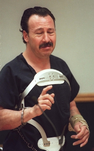 A tearful James Meegan speaks on his own behalf at his sentencing hearing in 1996. Judge Sally Loehrer sentenced him to life without the possibility of parole, but