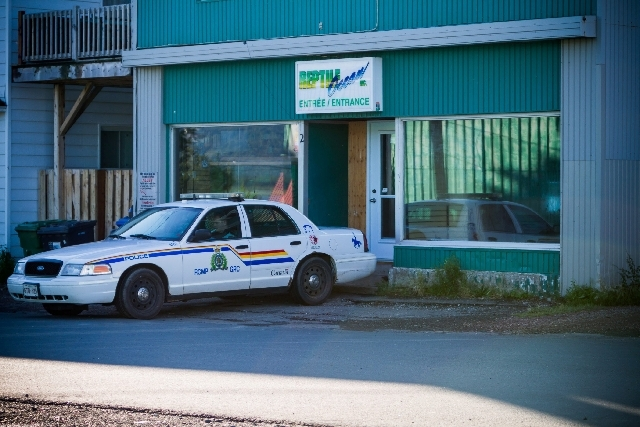 A Royal Canadian Mounted Police cruiser sits outside the Reptile Ocean exotic pet store in Campbellton, New Brunswick, Canada, on Tuesday. The store owner, Jean-Claude Savoie, said he discovered t ...