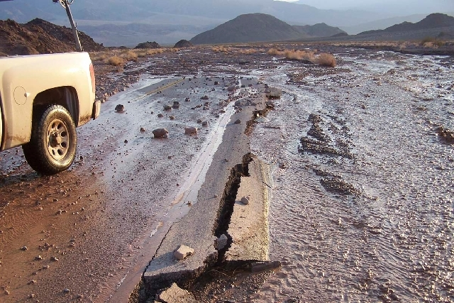 Flash flooding has damaged and closed Badwater Road through the southern end of Death Valley National Park. A section of the road of more than 20 miles was damaged.