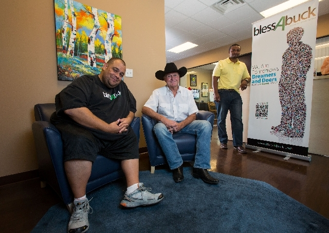From left, chief technology officer Joe Sanchez, CEO Gary Sturm and creative manager officer Michael Durant pose at their Bless A Buck office.