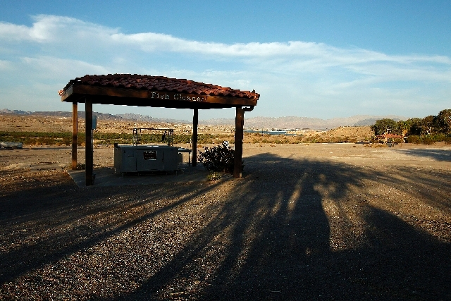 A fish cleaning station is seen near the Las Vegas Bay boat ramp near Lake Mead in Nevada on Tuesday.