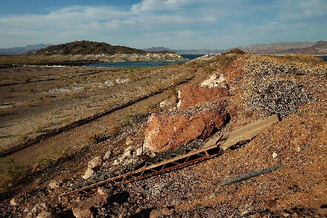 An old dock sits high and dry hundreds of feet away from Lake Mead near Boulder Harbor in Nevada on Tuesday.