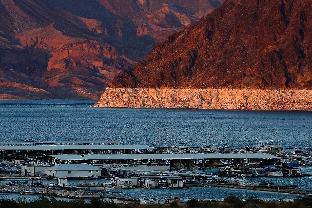 "The 'bathtub ring"" is seen behind Hemenway Harbor on Lake Mead in Nevada Tuesday. The ring shows the previous lake levels"