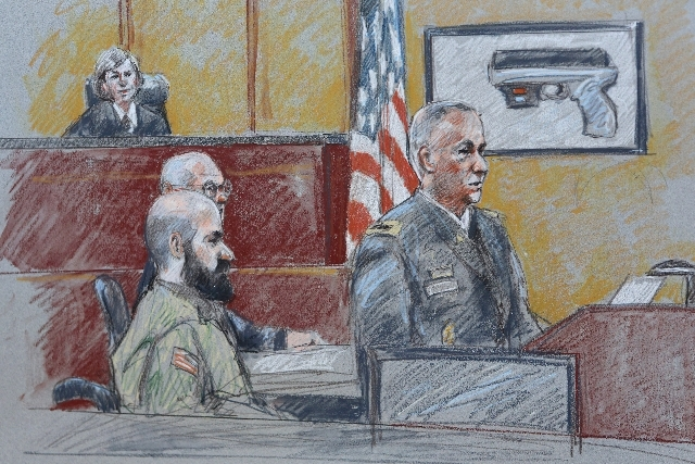 A courtroom sketch of the Maj. Nadal Hissan trial, which deals with the shooting at Fort Hood in Texas.