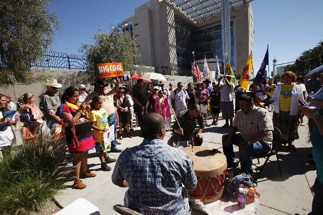 The Moapa Band of Paiutes and their supporters protest the Reid Gardner Power Plant and it's coal ash landfill in front of the Lloyd George Federal Courthouse in Las Vegas on April 22, 2012.