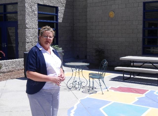 Former Stanford Elementary School principal Debra Jones stands Aug. 8 at Wilhelm Elementary School, 609 W. Alexander Road. Jones, one of the principals the Clark County School District recently hi ...