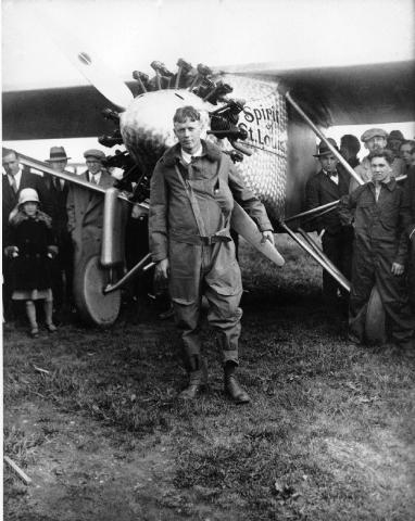 Charles Lindbergh after landing in Paris in 1927.