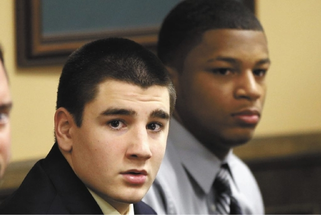 Trent Mays, 17, left, and 16-year-old Ma'lik Richmond sit at the defense table before the start of their trial on rape charges in juvenile court in March. The two were convicted of raping a West V ...