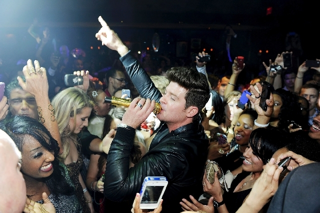 Robin Thicke performs April 13 at 1 Oak in Las Vegas.